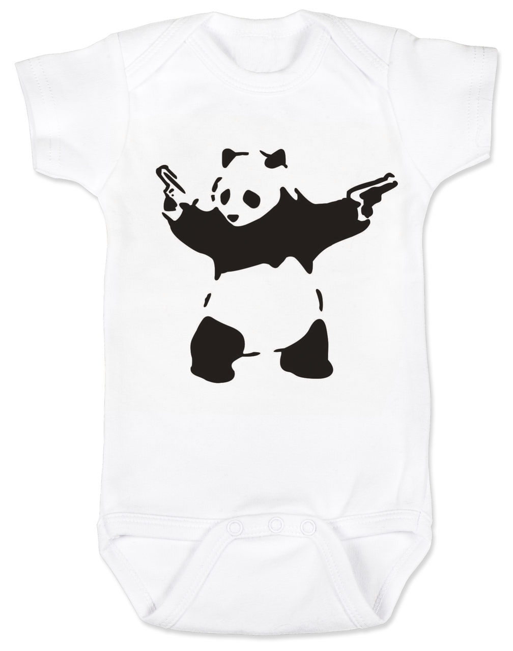 fe270bf6545 Banksy panda with guns baby Bodysuit, Banksy baby clothing, white