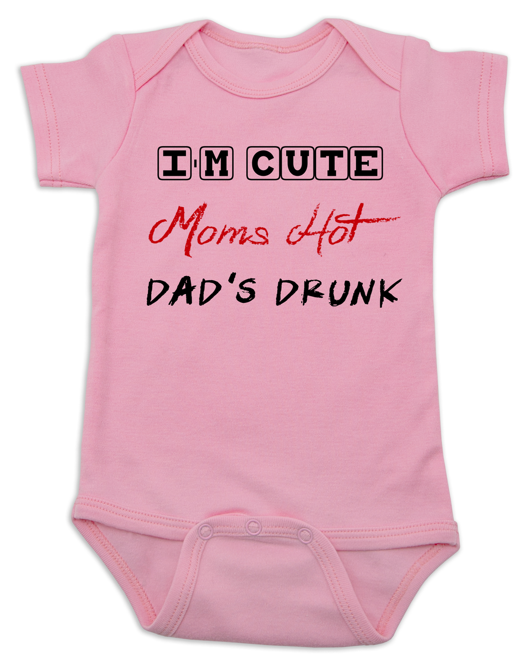 Trendy baby bodysuit available in multi colors! Dad/'s LUCKY I/'m CUTE Funny Baby Bodysuit for your new little one Mom/'s HOT
