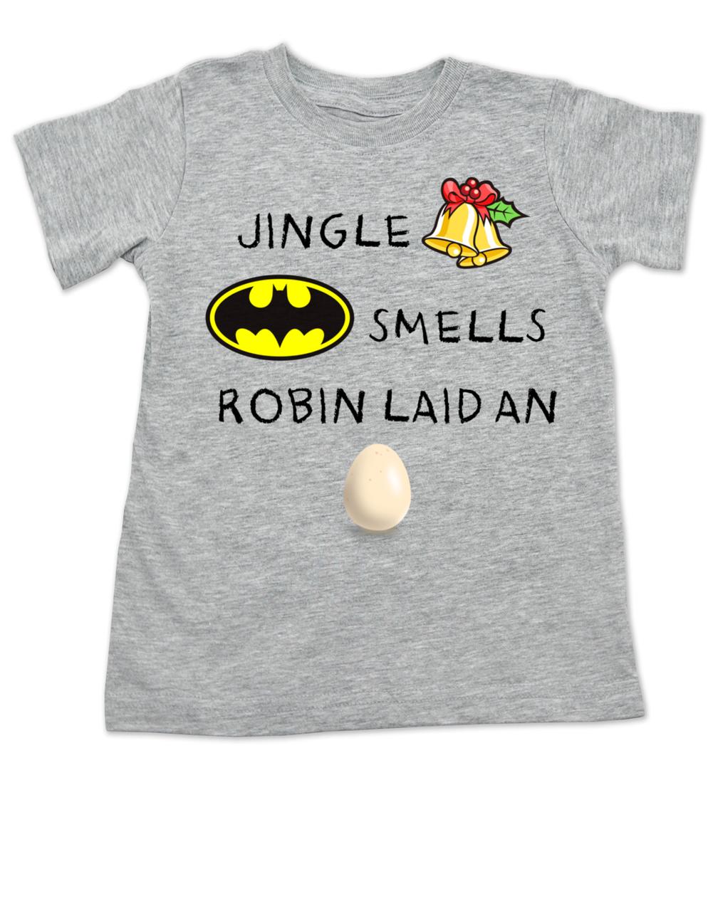 7cf53a891 Jingle bells, batman smells, funny christmas toddler clothes, robin laid an  egg,