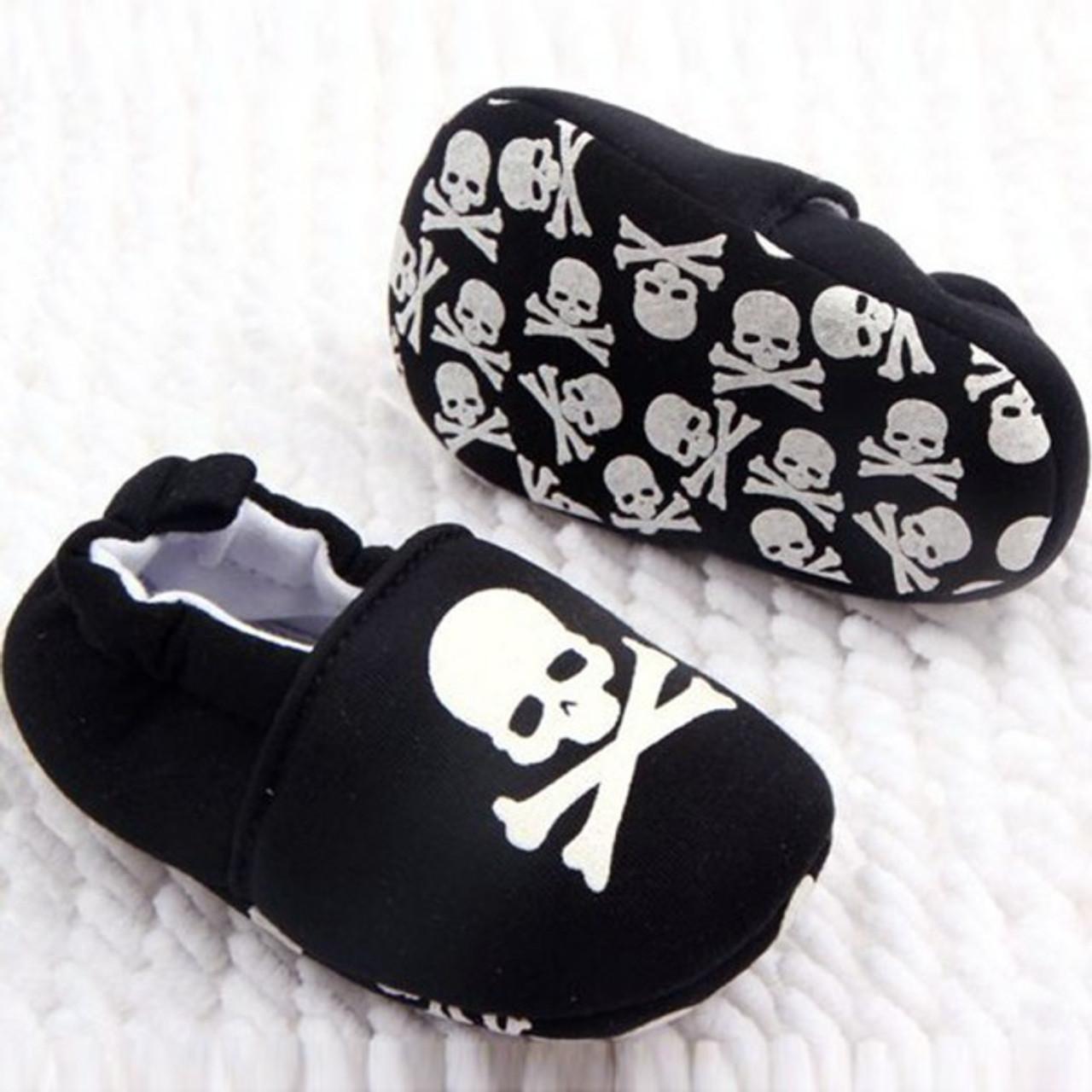 Black and white skull baby shoes 14ebd79edc0