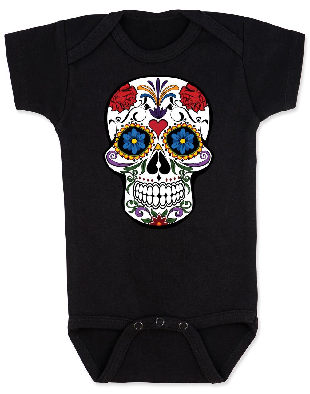 Psychedelic Sugar Skull Silhouette Printed Newborn Infant Baby Boy Girl Bodysuit Long Sleeve Rompers Black