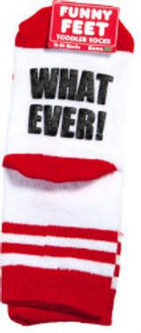 What Ever toddler socks, gamago socks, funny toddler socks, cool socks for toddlers, socks for cool kids, funny socks for babies, funny toddler birthday gift, best add on baby shower gift, cool gift for new parents, Novelty baby gift, Whatever toddler grippy socks