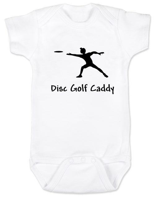 Disc Golf Cady Baby Bodysuit, Future Disc Golfer, Disc golf onsie, sports baby clothes, white