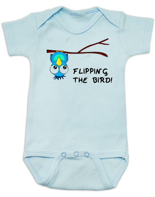 flipping the bird baby Bodysuit, middle finger, cute and funny baby onsie, blue bird, upside down bird, blue