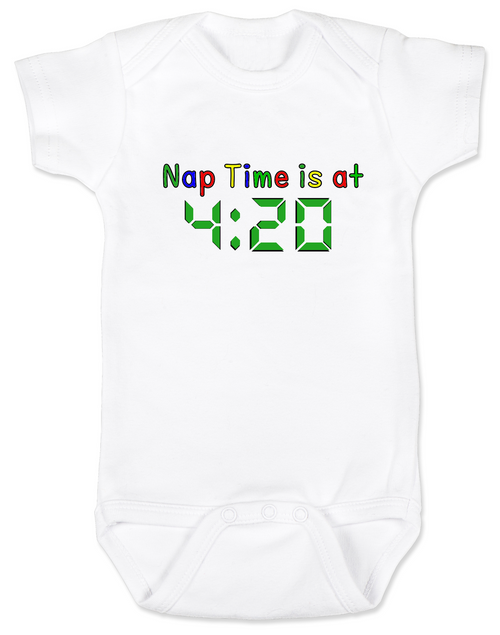 Nap Time is at 420 baby Bodysuit, stoner parents, Pot onsie, funny weed Bodysuit