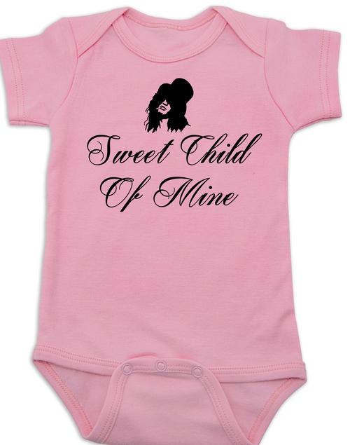 2acae188df2f ... Slash, Sweet Child of Mine baby Bodysuit, guns and roses band onsie,  pink