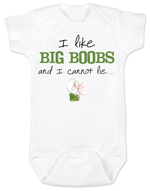 ba8a027531 I like big boobs Bodysuit Funny Baby Shower Baby Shower Gag Gifts unique  baby shower gifts ...