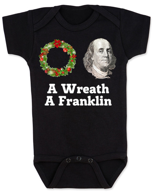 Funny Christmas baby Bodysuit, A Wreath A Franklin, aretha franklin, Punny Christmas onsie, funny christmas baby clothes, black