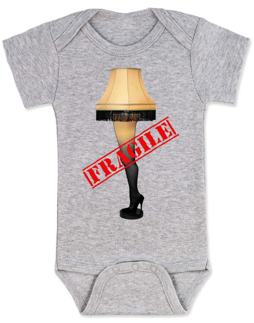Christmas Story Leg Lamp baby Bodysuit, Fragile onsie, classic Christmas Movie Bodysuit, A Christmas Story, funny christmas baby clothes, grey