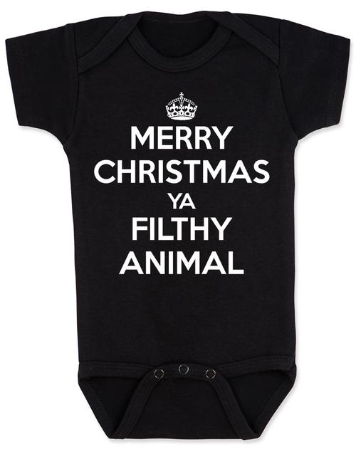 Merry Christmas Ya Filthy Animal, Keep Calm Christmas baby Bodysuit, Home Alone, Keep Calm Filthy Animal baby onsie, funny christmas baby clothes, black