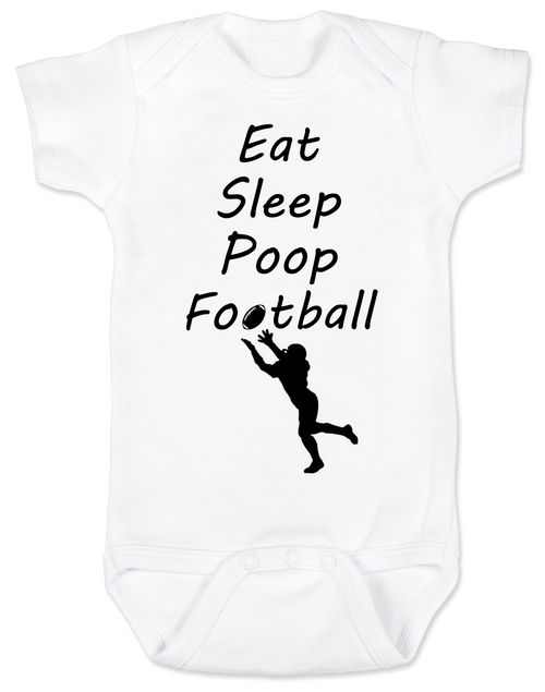 Eat sleep poop football baby Bodysuit, Funny Football Baby Onsie, Sports baby Bodysuits, daddy's football buddy baby Bodysuit, little football fan, future football fan, ready for football baby Bodysuit