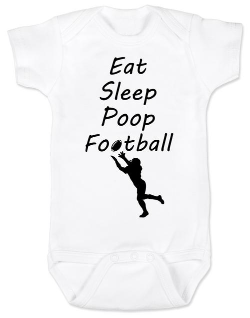 Eat sleep poop football baby Bodysuit, Funny Football Baby Onsie, Sports baby Bodysuits, daddy's football buddy baby Bodysuit, little football fan, future football fan, ready for football baby Bodysuit