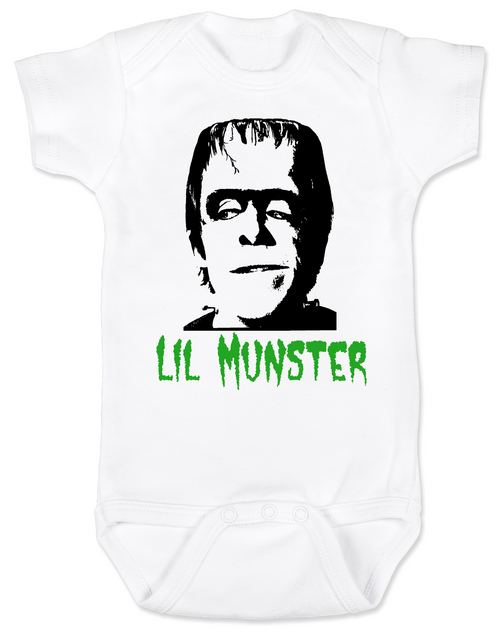 Lil Munster baby Bodysuit, The Munsters Halloween baby Bodysuit, Herman Munster infant bodysuit, cool monster baby halloween onsie