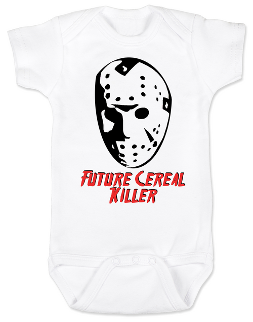 Halloween BodysuitFriday the 13th BodysuitCereal Killer Bodysuitunique baby shower giftsbad ass baby clothesgeeky baby Bodysuitspersonalized baby Bodysuitbaby Bodysuits with funny sayingscute funny baby clothes