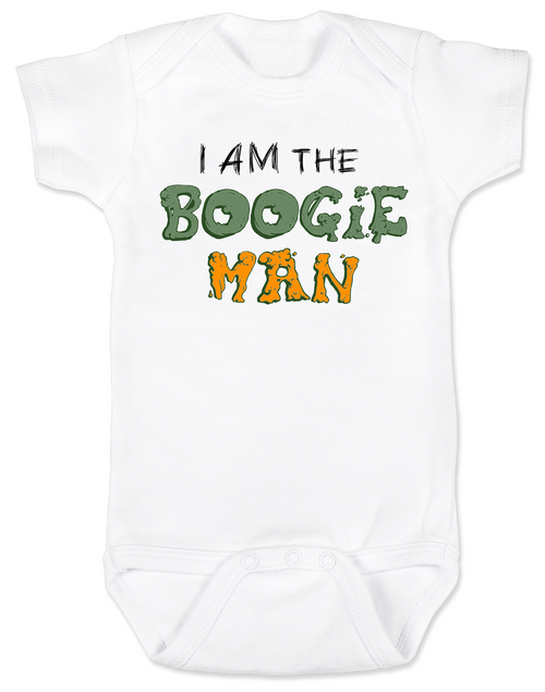 Boogie Man Bodysuit, I am the boogie man, funny Halloween baby Bodysuit, Boogie Man Baby bodysuit, Unique Halloween onsie