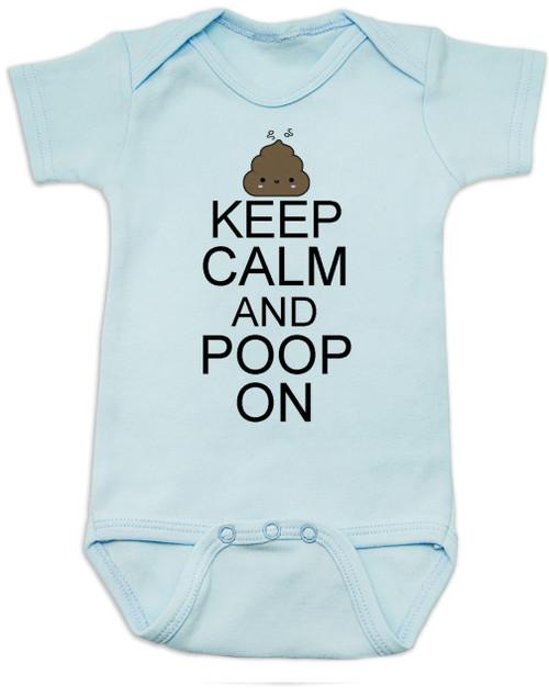 Keep Calm baby Bodysuit, Keep Calm and Poop On baby onsie, funny poop Bodysuit, baby keep calm, blue