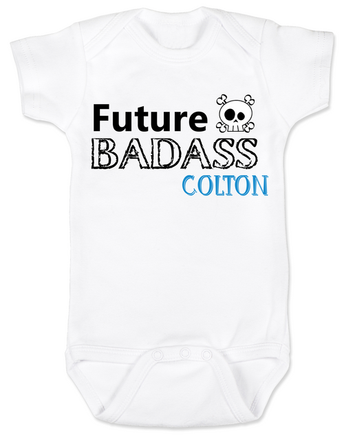 Future Badass Personalized Baby Boy Bodysuit, skull baby onsie, personalized with custom name