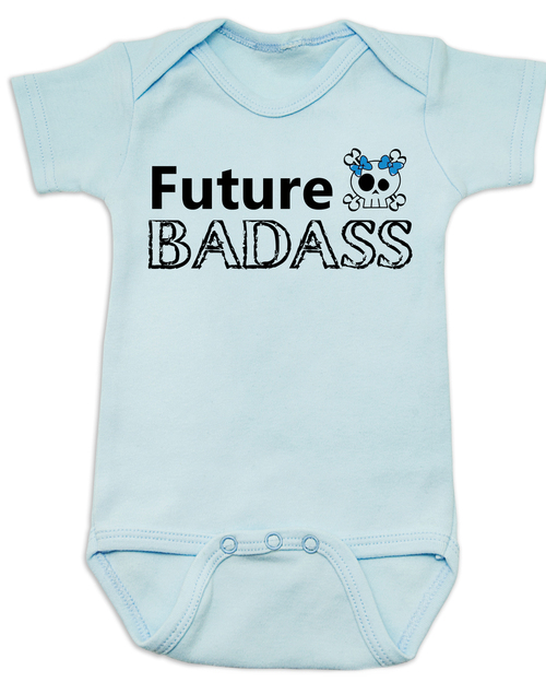 8dfb71a2 ... Future Badass Baby Bodysuit, skull baby onsie, personalize it with a  custom name,