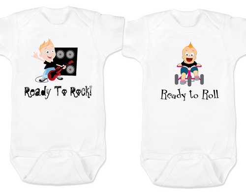 Rock AND Roll Twin Set, Cool Boy and Girl Twin matching Bodysuit set, Funny Twin Bodysuit Set, Punk Rock Babies