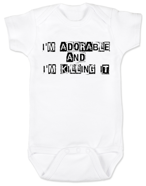 Adorable and Killing it baby Bodysuit, punk baby onsie, punk rock baby clothes, I'm adorable, I'm killin it, cute and cool baby bodysuit