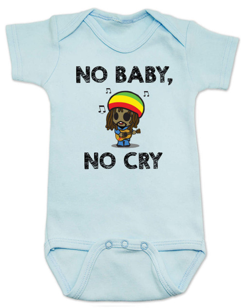Bob Marley baby Bodysuit, No Baby No Cry, Reggae Music infant bodysuit, Rock n Roll Baby clothes, Jamaican Baby Lullaby, No woman no cry, Reggae onsie, blue