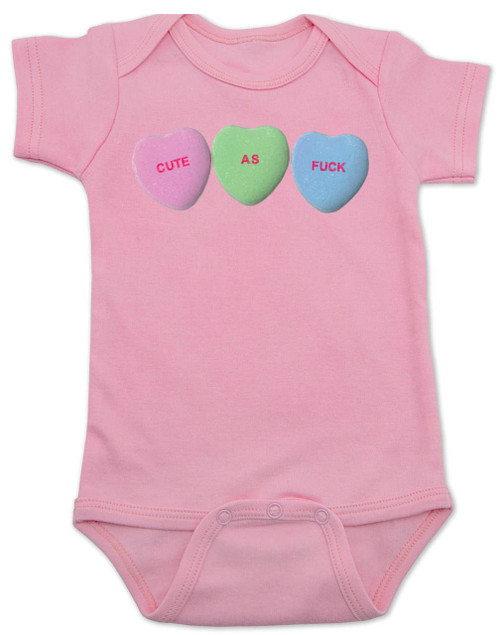Cute as F baby Bodysuit, Funny Candy Hearts Bodysuit, Valentines Day baby bodysuit, Valentine's Day hearts, Baby valentine creeper, Offensive candy heart baby onsie, pink
