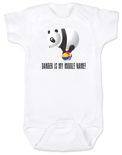 Danger is my middle name, panda baby Bodysuit, panda bear on ball, adventurous baby, fearless, live life to the fullest