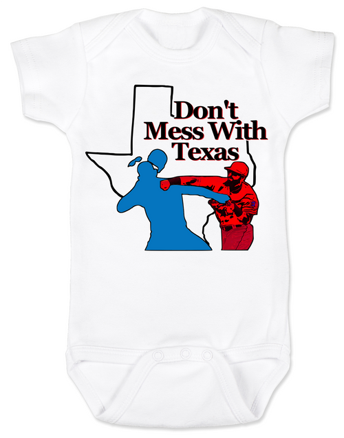 Texas Rangers Don't mess with texas Baby Bodysuit, Rougned Odor Bodysuit, Jose Bautista punch, don't mess with texas baby Bodysuit, texas rangers punch, rougned odor, jose bautista, funny baseball baby, Texas baseball punch, funny texas ranger baby Bodysuit, funny baseball onsie, baseball Bodysuit, white