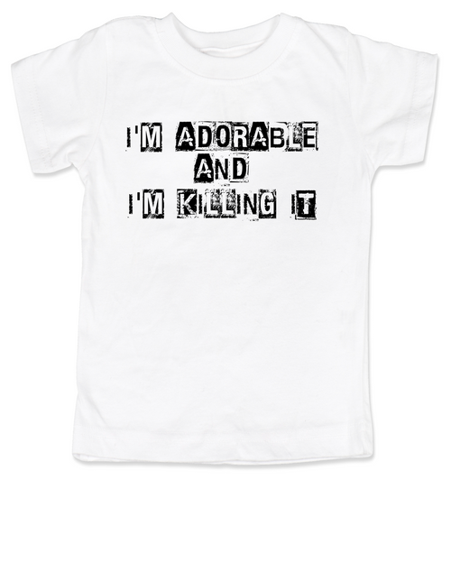 Adorable and Killing it toddler shirt, punk toddler t-shirt, punk rock kid clothes, I'm adorable, I'm killin it, cute and cool kid tee, white