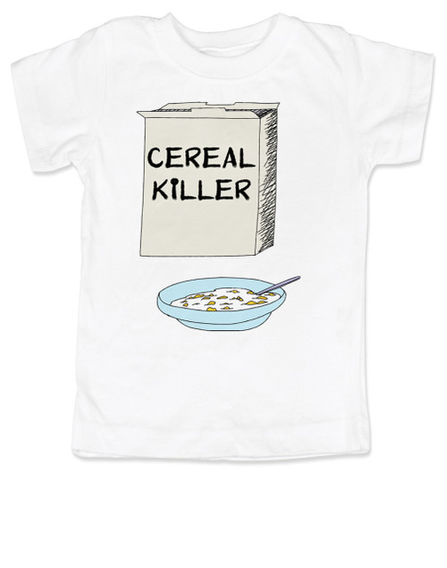 Cereal Killer toddler shirt, horror movie toddler t-shirt, bowl of cereal, Cereal Killer, Punny kid, white