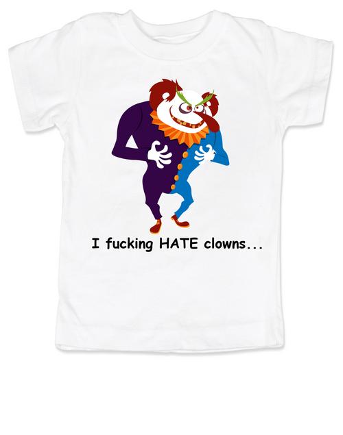 I hate clowns toddler shirt, creepy clown, clown phobia, circus, carnie