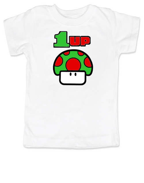 1-UP toddler shirt with custom name, Super Mario Mushroom 1 up, Personalized Birthday toddler shirt, Personalized Geeky kid, Personalized Gamer kid, Gamer kid Birthday, Geeky Gamer toddler shirt, Video Game toddler shirt, 80's toddler shirt, white