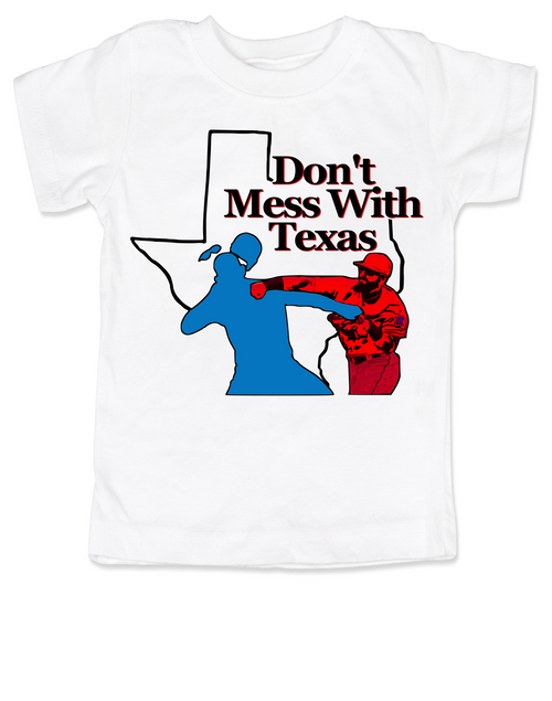 don't mess with texas toddler shirt, texas rangers punch, rougned odor, jose bautista, funny baseball toddler shirt, Texas baseball punch, funny texas ranger toddler shirt, white