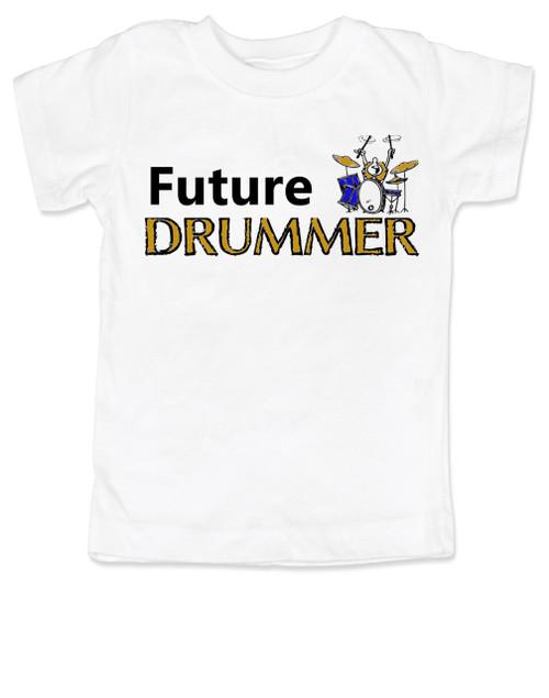 Future Drummer toddler shirt, Musician toddler t-shirt, Drummer like daddy, rock and roll music kid shirt, band toddler shirt, personalized drummer toddler shirt, white