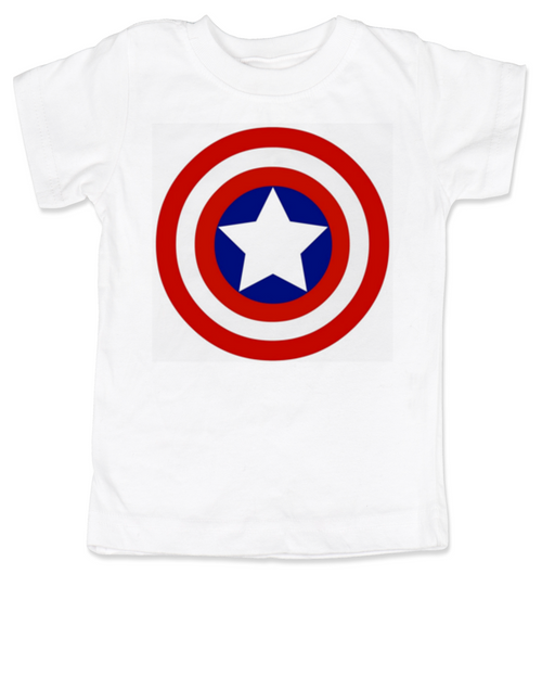 Captain Adorable toddler shirt, Captain America, Superhero toddler t-shirt, comic book kid t shirt, Avengers, Marvel toddler shirt, Patriotic kid clothes, white