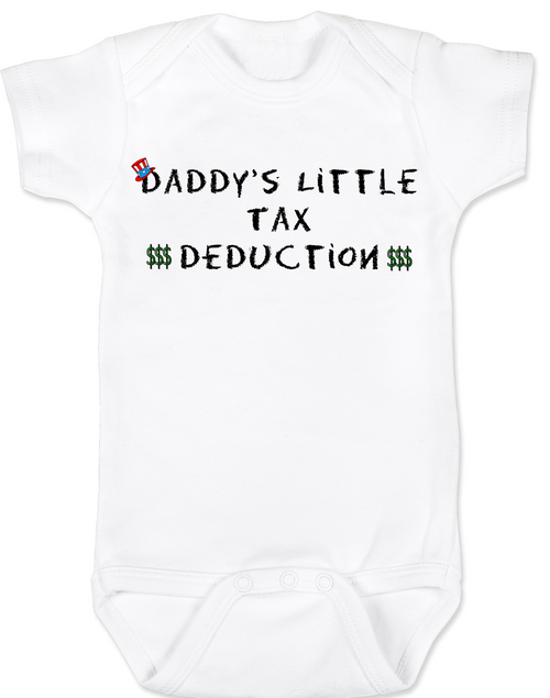 Daddy's Little Tax Deduction baby Bodysuit, Dads tax deduction, Uncle Sam, funny tax time baby onsie
