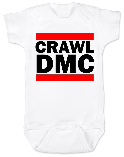 Crawl DMC baby Bodysuit, Run DMC baby clothes, white