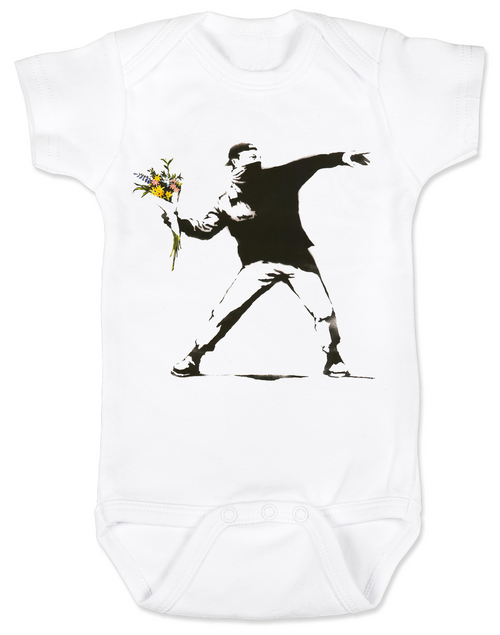 Banksy flower thrower baby Bodysuit, Banksy baby clothing