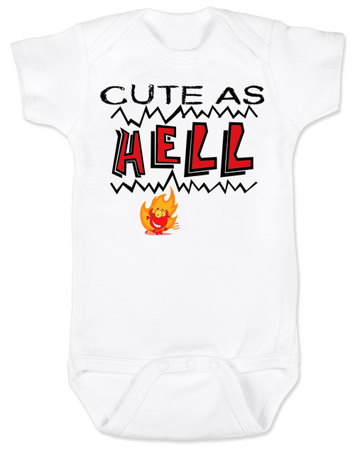 Cute as Hell Baby Bodysuit, little hellion, little devil baby Bodysuit, cute as hell infant bodysuit, cute as shit baby onsie