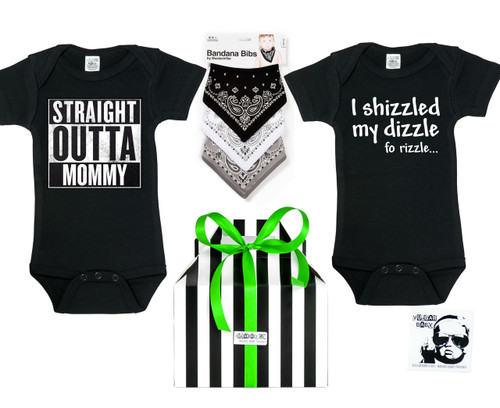 Hip Hop Baby Gift Set, gangster baby shower gift box, rap music lover baby gift, bandana bibs, straight outta mommy onesie, shizzled my dizzle onesie, hip hop baby onesies, little gangsta baby