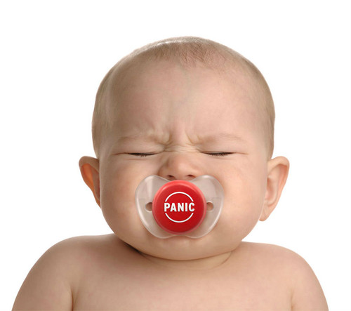 Funny baby Pacifier, Panic Button pacifier, panic baby binky, baby shower gag gift, funny infant pacifier, funny baby binky, funny binkie, chill baby, fred panic pacifier, novelty baby pacifier, baby wearing funny pacifier, new parents panic button, funny new parent gift