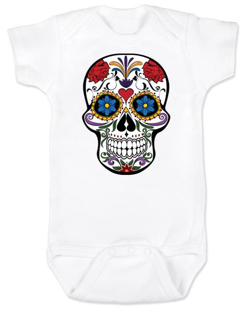 Dia de los Muertos baby Bodysuit, colorful sugar skull Bodysuit, Day of the dead baby Bodysuit, Halloween baby Bodysuit, white