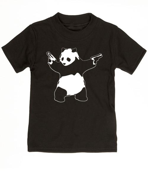 Banksy panda with guns baby toddler shirt, Banksy kids clothing, black