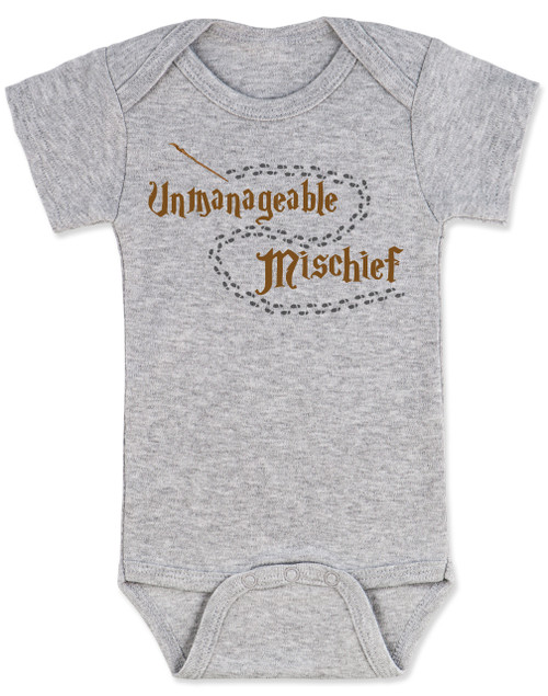 5208bdce6 ... Unmanageable Mischief baby Bodysuit, funny harry potter baby Bodysuit,  baby gift for harry potter ...