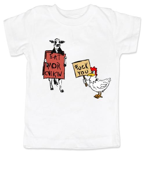 Eat more chicken toddler shirt, fuck you cow chicken shirt, Toddler shirt, white