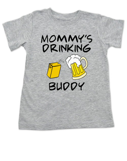 Mommy's drinking buddy, Drinking buddies Mother and child, Mom's drinking buddy toddler shirt, beer and juice box, Mom's best friend, drinking with mommy, Mommy drinking buddy kid shirt, toddler gift for beer drinking parents, funny beer toddler t-shirt, grey