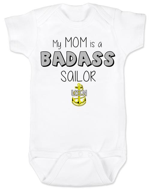 My mom is a badass sailor, military mom baby Bodysuit, Sailor Mom, Badass Mom infant bodysuit, Navy sailor mom onsie