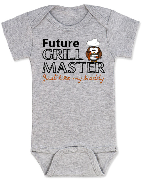 Future Grill Master baby Bodysuit, grill master like daddy baby bodysuit, future cook like dad, personalized baby Bodysuit for new parents who love to cook, grey