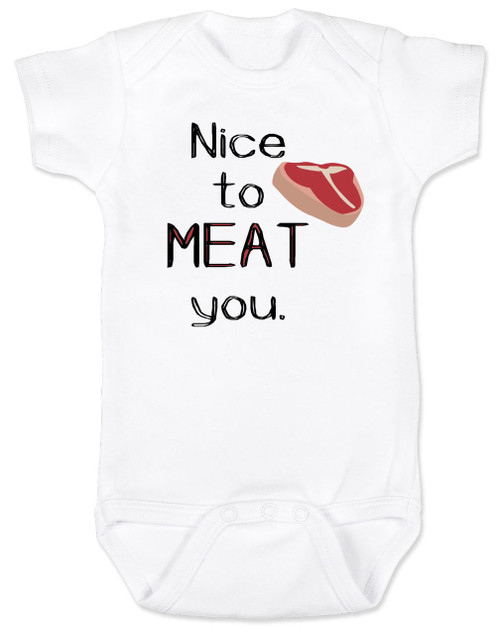 Nice to MEAT you baby Bodysuit, nice to meet you baby Bodysuit, funny cook baby bodysuit, baby gift for parents who love to cook, punny baby Bodysuit, tbone steak funny baby Bodysuit, baby pun, funny baby announcement Bodysuit