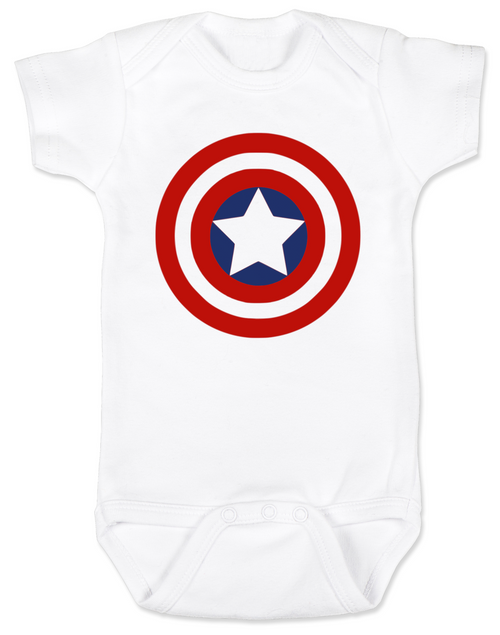 Captain America Baby Bodysuit, Patriotic baby onsie, 4th of July, Fourth of July, Memorial Day, holiday baby bodysuit, Made in the USA, Captain America Shield, white